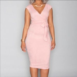 Orig. $98 RUE 107 pink midi length wrap dress